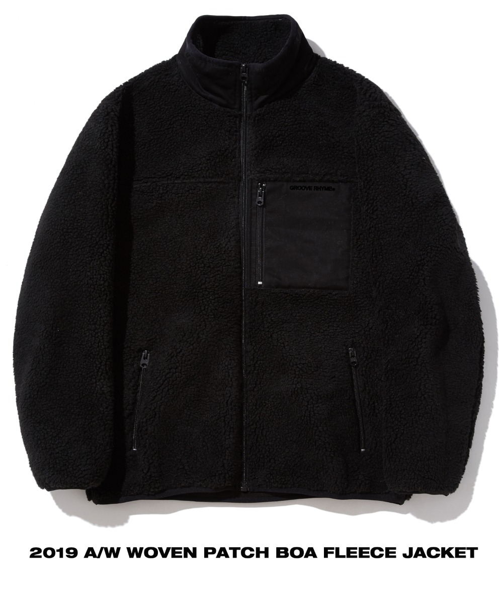 WOVEN PATCH BOA FLEECE JACKET (BLACK) [GFZ406H43BKA]