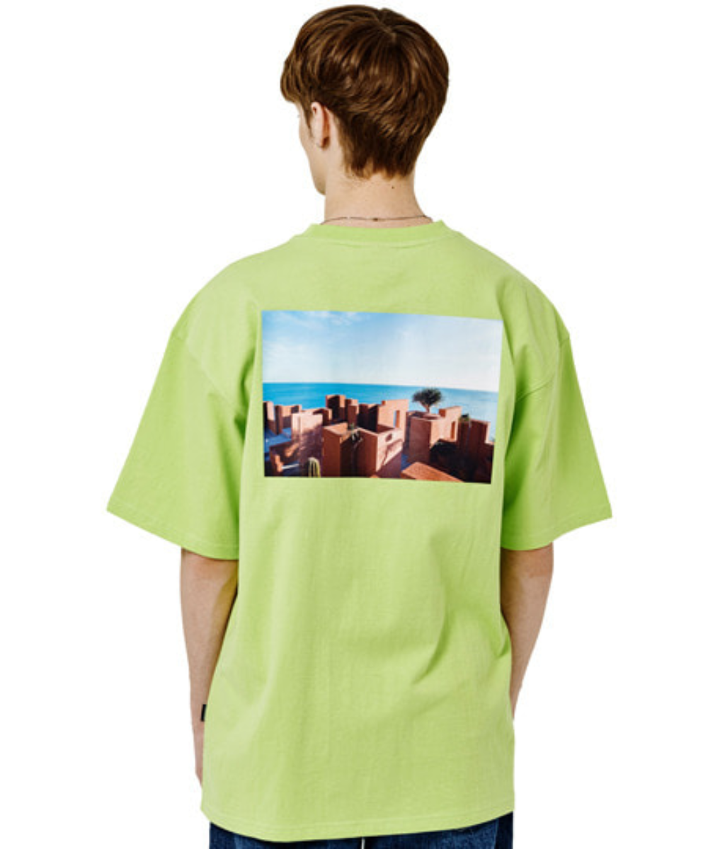 SANTORINI BEACH PRINT OVER FIT T-SHIRTS(GREEN) [GTS006H23GR]