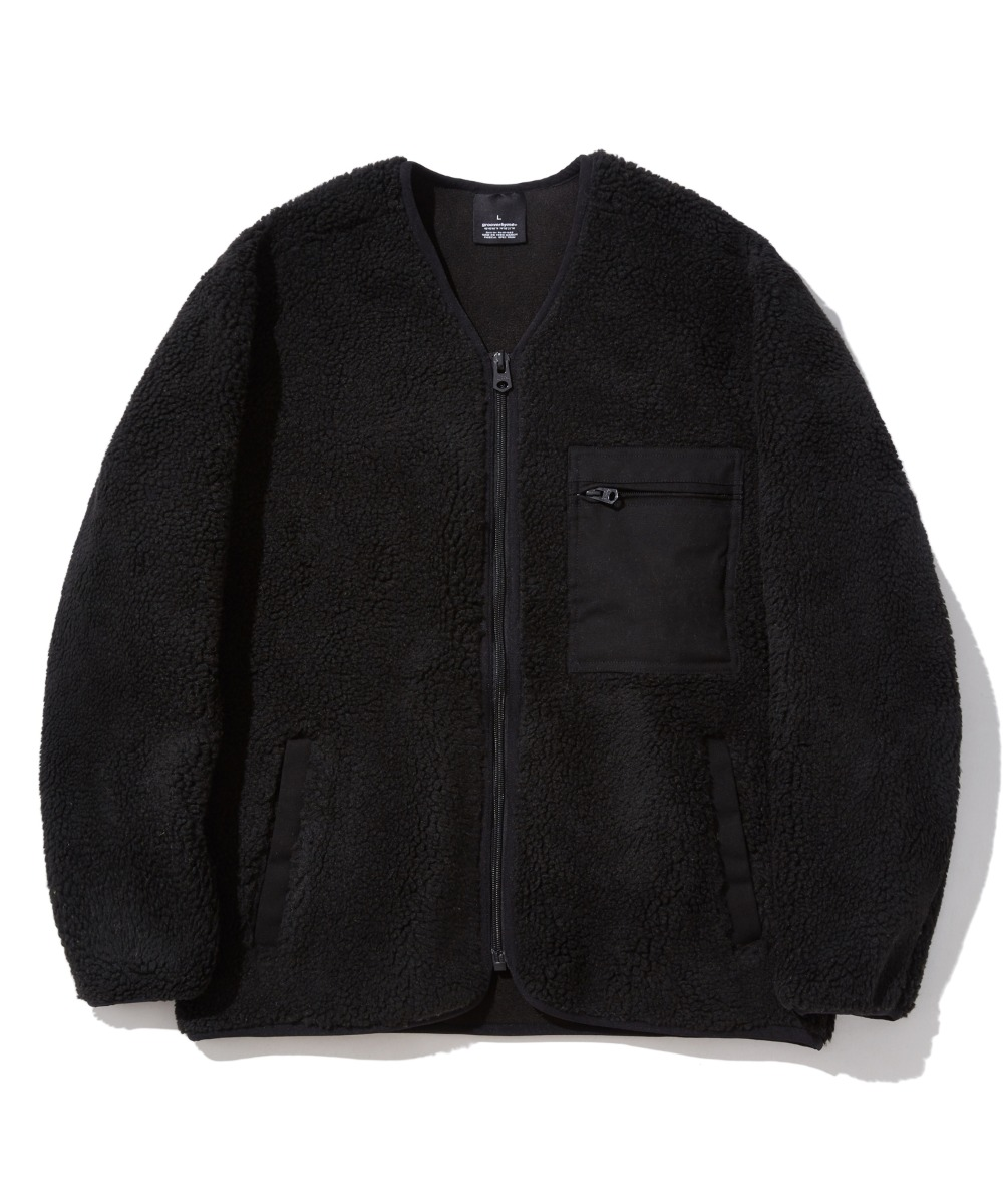SQUARE CHEST POCKET BOA JACKET (BLACK) [GFZ407H43BKA]