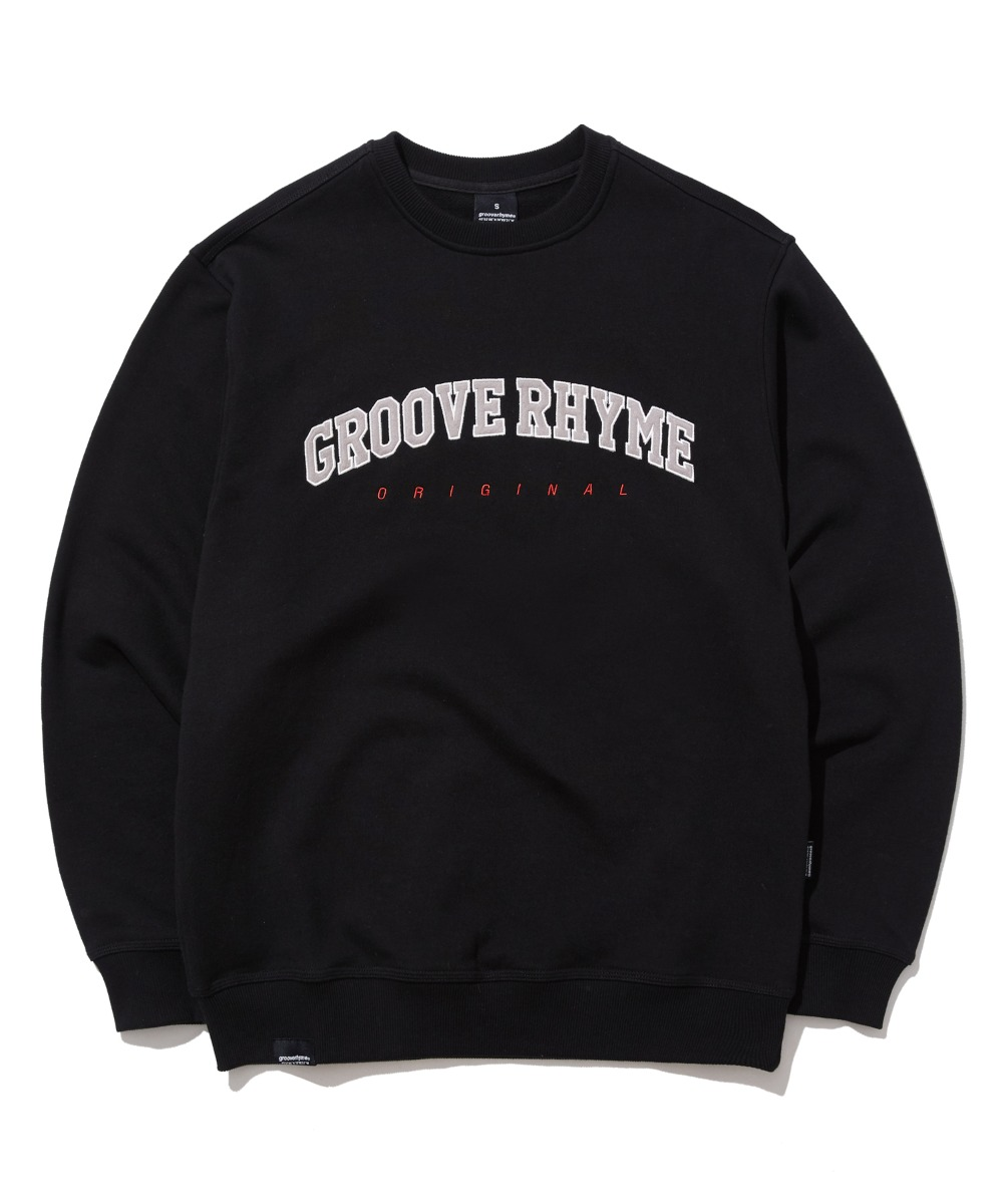 LOGO APPLIQUE SWEAT SHIRTS (BLACK) [GMT523I13BK]