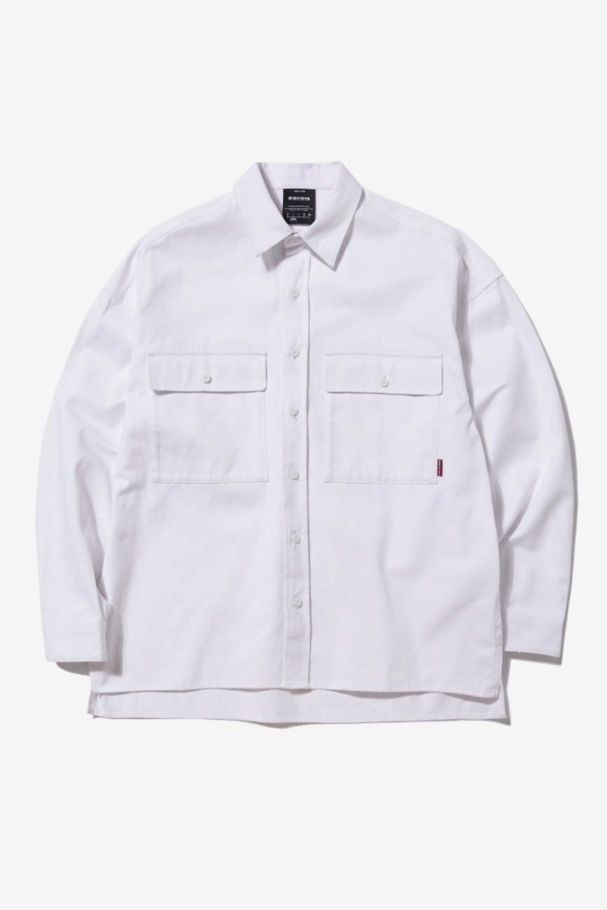 CHEST POCKET OVER FIT SHIRTS (WHITE) [GSH003H13WH]