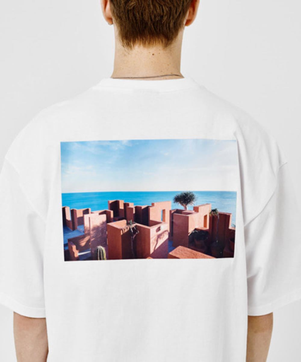 SANTORINI BEACH PRINT OVER FIT T-SHIRTS(WHITE) [GTS006H23WH]