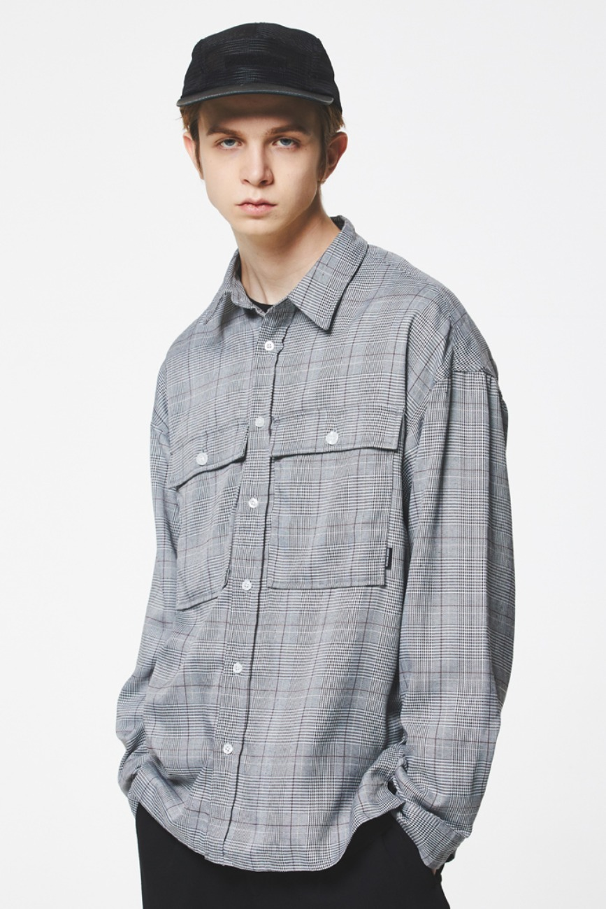 2 POCKET GLEN CHECK SHIRTS VER.2 (BLACK GLEN CHECK) [GSH005H13BK]