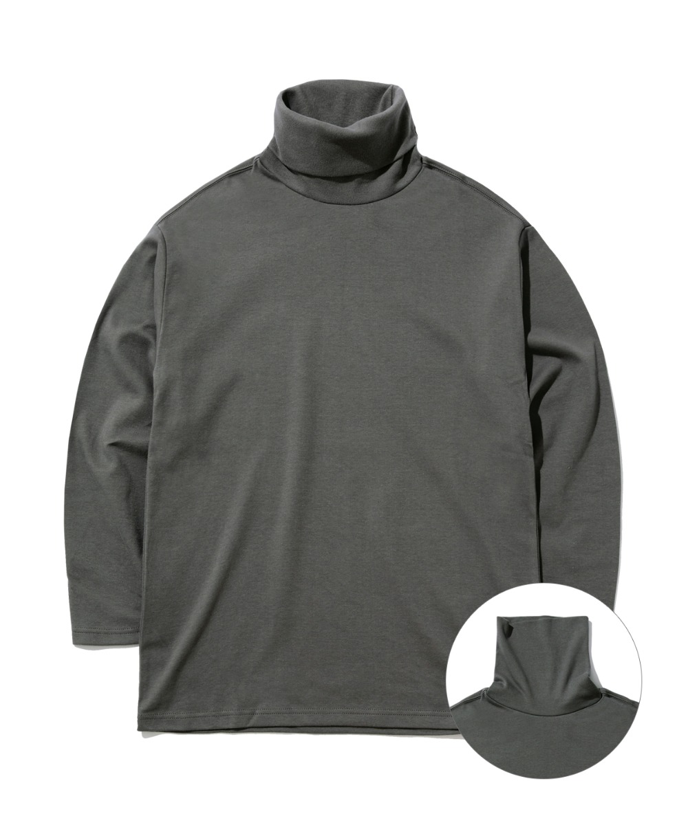 DAILY TURTLE NECK T-SHIRTS (CHARCOAL) [GLT602H33CHA]
