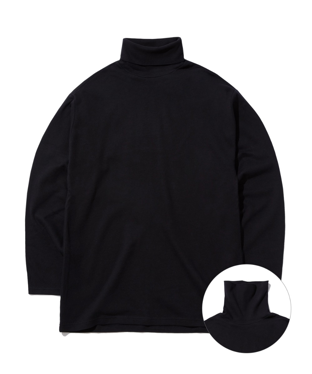 DAILY TURTLE NECK T-SHIRTS (BLACK) [GLT602H33BKA]